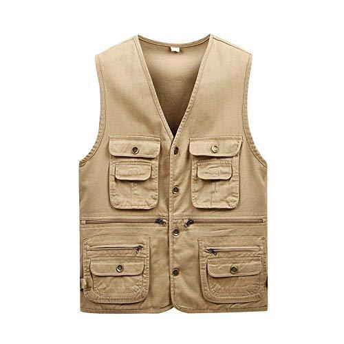 Adelina outdoor katoenen vest met meerdere vesten zakken jongens herenmode middeleeuwen mantel vest (kleur: kaki: 170/L)