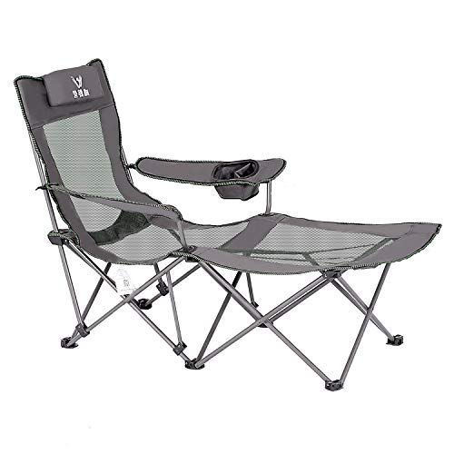 Outdoor Camping Chair with Footrest Folding Beach Lounge Chair Heavy Duty 300 lbs Grey