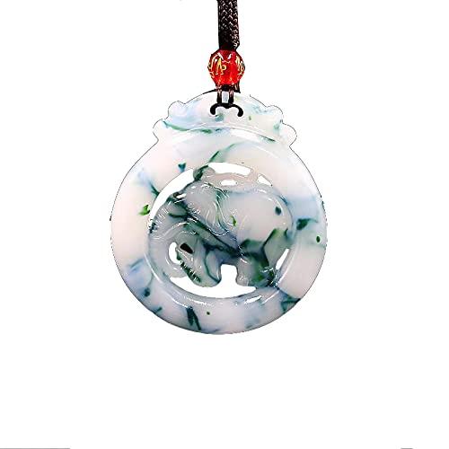 Colgante de elefante de jade, joyería de doble cara, regalos tallados en jadeíta, collar de moda natural, amuleto de piedras preciosas, encanto chino