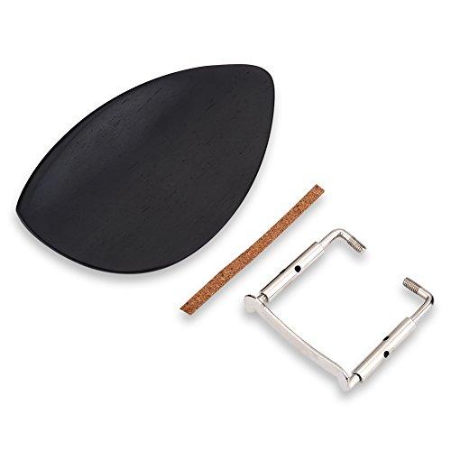 Dilwe Violin Chin Rest, Madera de Ébano Chin Rest con Softwood Strip & Bracket Accesorio de Instrumento de música para 4/4 Violín