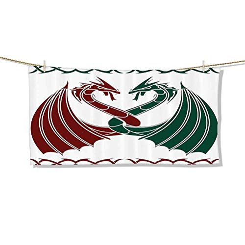 Microfiber Sand Free Beach Towel Quick Dry Super Absorbent Lightweight Thin Towels Blanket Dragons Themed Design Mythical Early Medieval Scandinavian Celtic Castle Knights Print W27 x L12 Towel dres