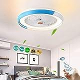 Ventilador De Techo LED Invisible Con Iluminación De La Luz Ajustable Moderna Lámpara De Techo Habitación Regulable Salón Luz De Control Remoto Tranquilas Niños Fan Bajo Ruido Creative,Azul