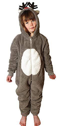 Childrens Boys and Girls Onesie Fluffy Fleece Animal Monkey Cat in Kids Age 2-11 Years (Age 8-9 Years, Reindeer Tail)