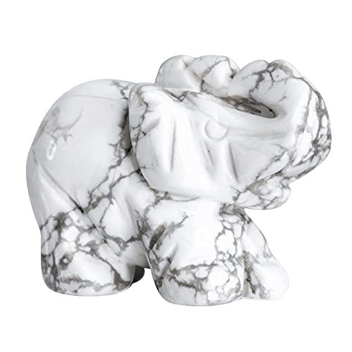 Yatming Healing Crystal Elephant Figurine Desktop Decor, Hand Carved White Howlite Turquoise Stone Feng Shui Animal Statue for Home Office