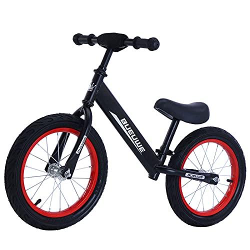 GASLIKE Bicicleta de Equilibrio para niños de 3 a 7 años, Bicicleta de Equilibrio para niños de 14 Pulgadas, Asiento Ajustable 53-64cm, para niños y niñas Principiantes, Estable y Segura,Negro