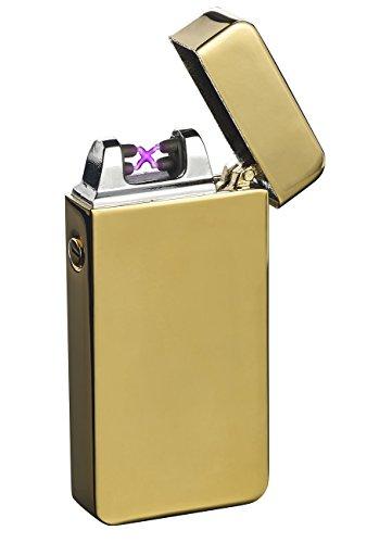 PEARL Plasma Feuerzeug: Elektronisches USB-Feuerzeug mit doppeltem Lichtbogen und Akku, golden (Akkufeuerzeug)