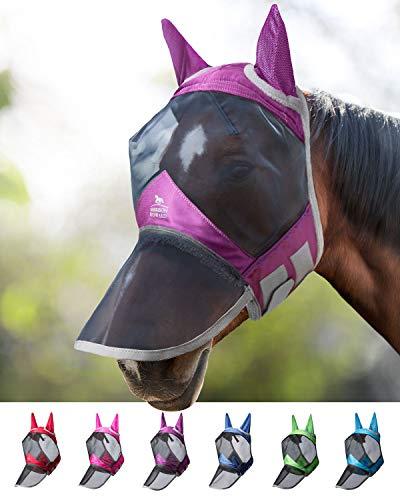 Harrison Howard CareMaster PRO Luminous Maschera Anti-Mosche per Cavallo UV Protezione Pieno Volto Viola (M; COB)