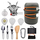 LEILEI Protable Camping Cookware Mess Kit For 2 People,Lightweight Outdoor Cooking Gear Set with Stove,Not-Stick Pan&Pot with Utensils &Bag For Hiking Picnic A Orange