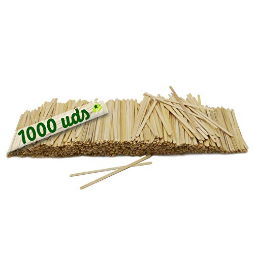 1000 paletinas de cafe de Madera. Palitos de cafe Desechables, Palitos removedores de cafe biodegradables de 14 cm de Longitud, agitadores de cafe y te.