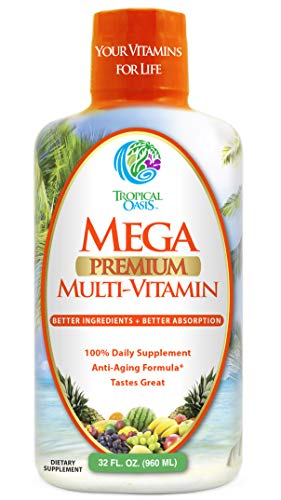 Mega Premium Liquid Multivitamin | Natural Immune Support & Anti-Aging Multi-Vitamin w/20 Vitamins, 70 Minerals, 21 Amino Acids, CoQ10 & PABA | Sugar Free | Orange Flavor | 98% Absorption | 32 Serv