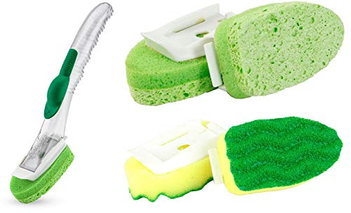 Libman Dish Sponge Refills Scrubber Dishwand Soap Holder w/pcs (2 Types) Kitchen Cleaning Value Bundle Set