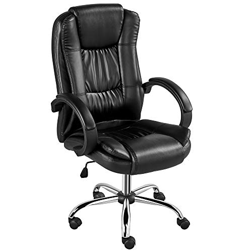 Yaheetech Office Chair, Desk Chair High Back, Computer Chair, PU Executive Chair, Swivel Conference Chair with Thick Seat & Lumbar Support