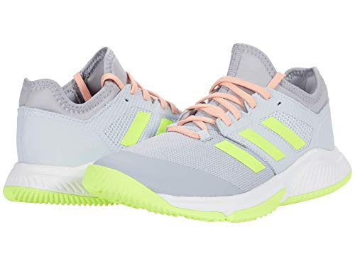 adidas Women's Court Team Bounce Volleyball Shoe, Halo Silver/Yellow/Halo Blue, 12