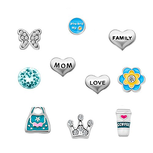 Q&Locket Mom Grandma Family Tree Floating Charms for Glass Living Memory Lockets Necklace &Bracelet (Style5)