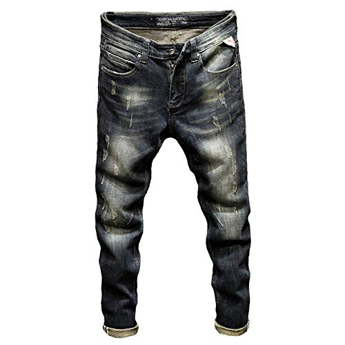 Jeans Pantalon Punk Jeans Herren Slim Fit Stretch High Street Wear Retro Blau Casual Jeans Jeans Herren Herren Biker Jeans Vintage Frühling Und Herbst-Blau_31