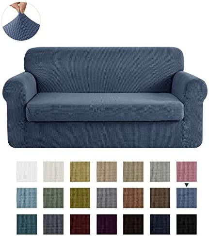 Best CHUN YI Stretch Loveseat Sofa Slipcover 2-Piece Couch Cover Furniture Protector, 2 Seater Coat Soft