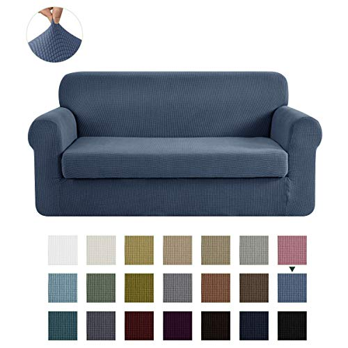 CHUN YI Stretch Sofa Slipcover 2-Piece Couch Cover Furniture Protector, Settee Coat Soft with Elastic Bottom, Checks Spandex Jacquard Fabric, Large, Denim Blue