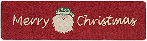Chandler 4 Corners Artist-Designed Merry Christmas Santa Hand-Hooked Wool Hearth Rug (1' x 4')