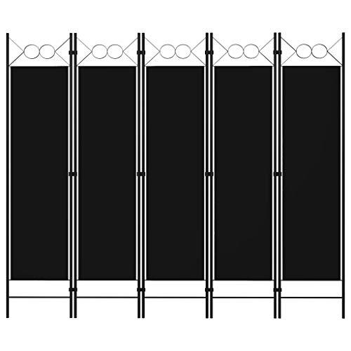 vidaXL Paravento a 5 Pannelli Divisorio Separè Pannello Byobu Pieghevole Schermo Separatore Ambienti Interni Protezione Privacy Nero 200x180 cm