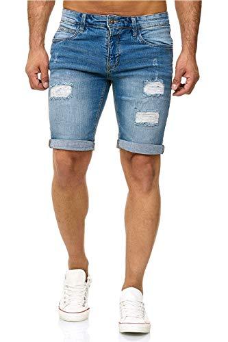 Indicode, pantaloncini in denim Kaden, Blue Wash a costine., M