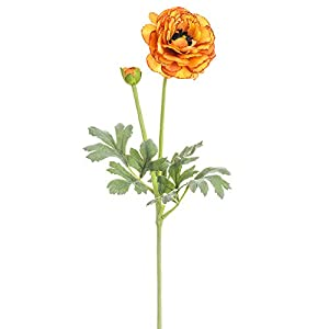SilksAreForever 21″ Silk Ranunculus Flower Stem -Orange (Pack of 12)