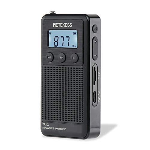 Retekess TR103 Mini radio portátil AM FM, radio pequeña para oficina, radio de bolsillo con luz de fondo, soporte tarjeta TF, altavoz...