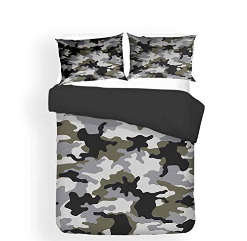 LanS Special forces camouflage stripe series duvet cover Bedding Set, duvet cover and pillowcase, 3/4 Piece Set (duvet cover + 2 pillowcases + Sheets) health/soft/colourfast (C,Double-3PCS-200×200cm)