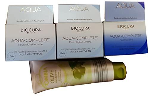 Biocura Aqua Complete 2 x 50 ml Feuchtigkeitsplege + 1 x 50 ml Nachtcreme + Ombia Handcreme Olive 125 ml