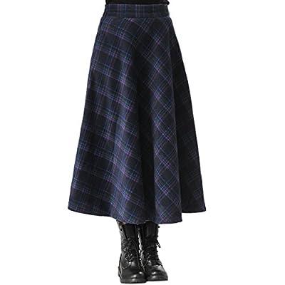 Elonglin Women's Fall Winter Plaid Pleated Warm Thicken Wool Woolen Long Skirt A-Line Retro High Waist Swing Maxi Skirts