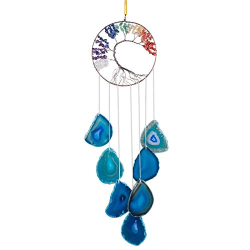 Nupuyai Lebensbaum Windspiel aus Achat Scheiben Handgefertigte 7 Chakren Heilkristalle Hängendes Hochzeit Ornament Haus Garten Dekoration