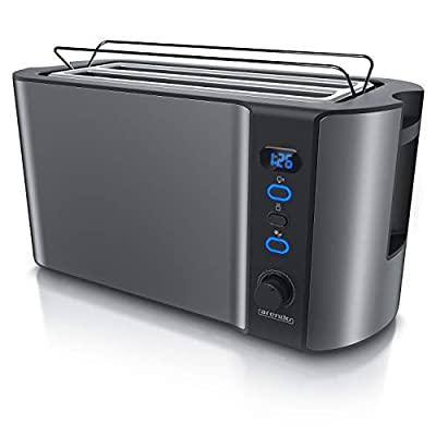 Arendo - Frukost 4 slice long slot toaster - double wall housing – with warming rack – 6 browning settings – auto bread centring – reheat defrost cancel function– remaining time display
