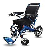 Mnjin Silla de Ruedas Silla de Transporte con Motor eléctrico Plegable Ligero 50 LB, Resistente y Duradero para el Uso, sillas de Transporte motorizadas convenientes para Uso en el hogar y a