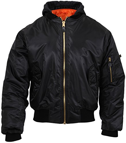 Rothco Hooded MA-1 Flight Jacket, L Black