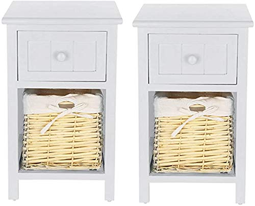 yunyu Bedside Table Set Of 2pcs Drawers Cabinet Pair Bedroom Bedside Table Unit Cabinet Shabby Chic Wicker Basket Unit (Light grey)
