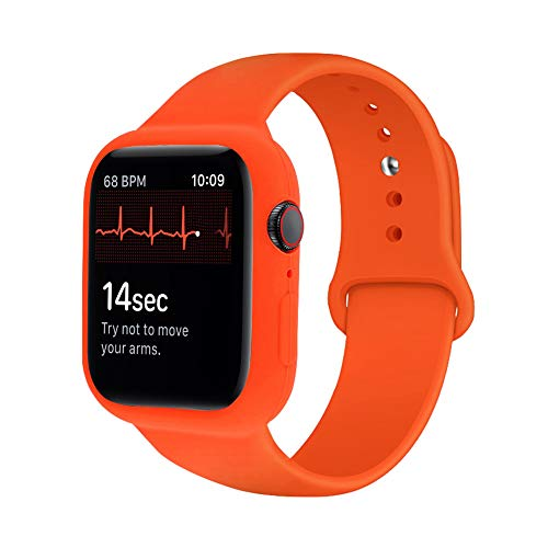 iTecFree Compatible for Apple Watch Band with Case 44mm Orange,Soft Silicone Sport Bands Wrist Strap with Protective Bumper for iWatch SE Series 6 / Series5 / Series 4 Accessories (44mm,Orangle)