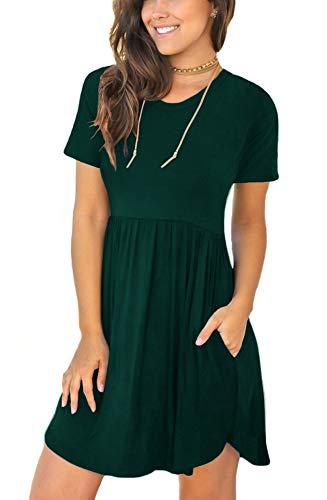 LONGYUAN Womens Summer Short Sleeve Dresses Stretch Loose Swing Sundress with Pockets Dark Green Large (Apparel)