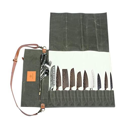 Protección para cuchillos domésticos Bolsa para cuchillos de chef Bolsa enrollable de lona Estuche para transporte Bolsa Cocina Cocina Almacenamiento portátil duradero con 11 bolsillos Suministr
