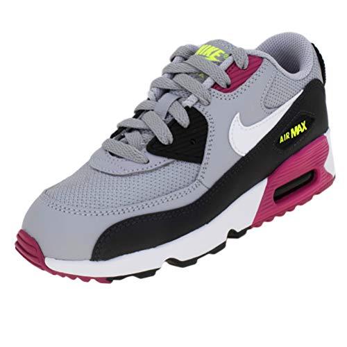Nike Air Max 90 Mesh (PS), Scarpe da Atletica Leggera Bambino, Multicolore (Wolf Grey/White/Rush Pink/Volt 000), 31.5 EU