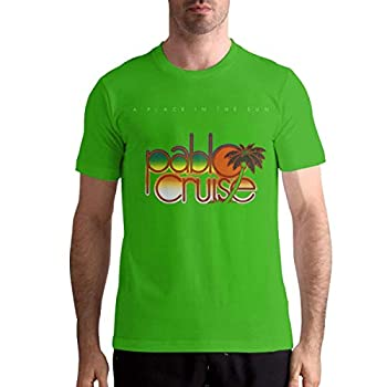 HUANGQINF Pablo Cruise A Place in The Sun Stylish Music Theme Classic Men s Short Sleeve T-Shirt S Green