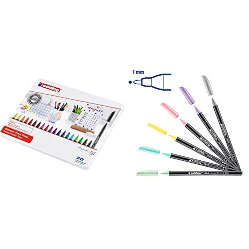 edding 1200 - Estuche de metal con 20 rotuladores, multicolor + 1200 – Rotuladores de pastel – Punta redonda 1 mm – Juego de 6