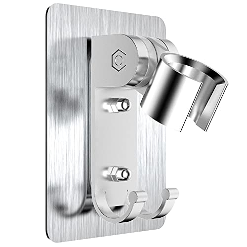 Soporte de ducha, Soporte de Ducha Ajustable, no es necesario perforar agujeros para instalar pegamento fuerte con orificios de montaje de tornillos, el soporte se puede ajustar 90 grados