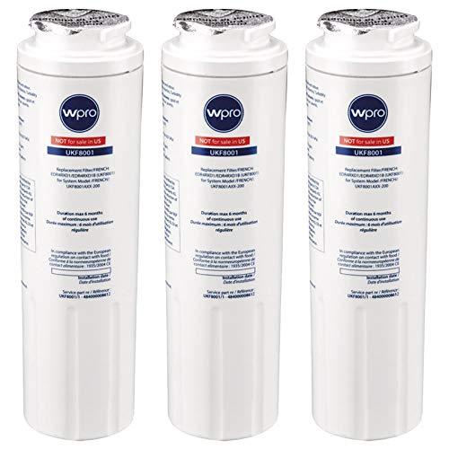 WPro UKF8001 Lot de 3 filtres à eau universels pour réfrigérateur et congélateur