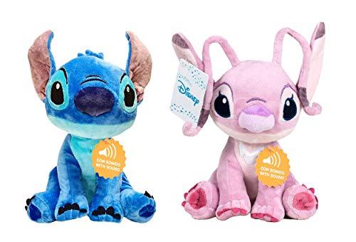 """Lilo & Stitch - Pack 2 Peluches 11'41""""/29cm Stitch (Azul) y Angel (Rosa) Calidad Super Soft Ambos con Sonido"""