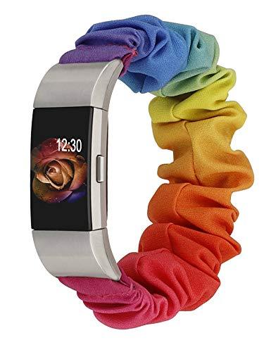 TOYOUTHS Compatível com pulseiras Fitbit Charge 2 Scrunchie femininas elásticas, tecido elástico, pulseira estampada, pulseira esportiva de reposição Charge 2 HR (arco-íris, grande)