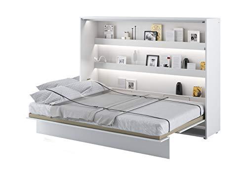 Schrankbett Bed Concept, Wandklappbett mit Lattenrost, V-Bett, Wandbett Bettschrank Schrank mit integriertem Klappbett Funktionsbett (BC-04, 140 x 200 cm, Weiß/Weiß Hochglanz, Horizontal)