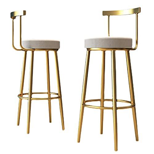 Taburete de Bar Moderno con Respaldo, Juego de 2, Taburete tapizado de Altura de mostrador, sillas de Bar para Cocina/Bar en casa/Pub/Comedor, Altura del Asiento 75 cm, Capacidad máxima de Car