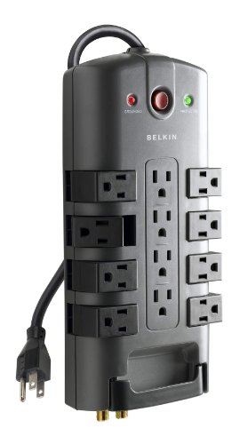 Belkin BE112230-08 12-Outlet Pivot-Plug Power Strip Surge Protector w/ 8ft Cord – Ideal for Computers, Home Theatre, Appliances, Office Equipment and more (4,320 Joules)