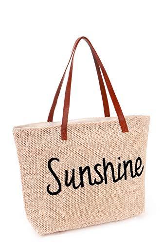 Strandtaschen Große XXL Familie mit Reißverschluss - Geflochten Strohtasche Shopper Schultertasche Einkaufstasche Bast, Wasserdicht Tasche für Strand, Beach Bag Netz Damen Herren, Beige