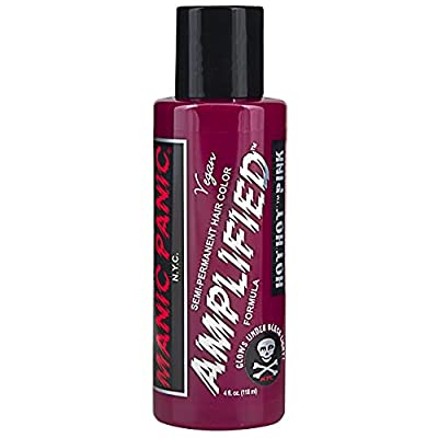 Manic Panic Hot Hot Pink Hair Color - Amplified - Semi Permanent Hair Color - Medium Pink - Glows In Blacklight - For Dark & Light Hair - Vegan, PPD & Ammonia Free - For Coloring Hair on Women & Men