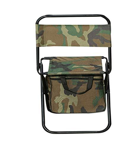 zhbotaolang Sac à Dos Plein Air Portable Chaise Pliante - Multifonctionnel Pêche Voyage de Camping Tabouret Sac de Rangement(Camoufler A)